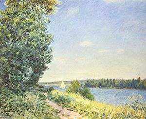 Alfred Sisley - Normandie ,  the water path , in der evening at Sahurs