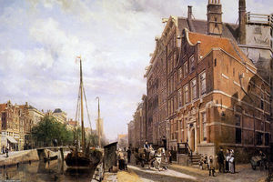 Cornelis Springer - gracht in amsterdam