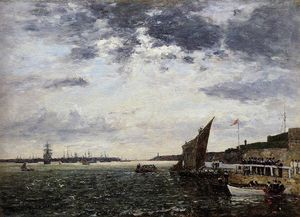 Eugène Louis Boudin - Marines in Brest Landing Harbor