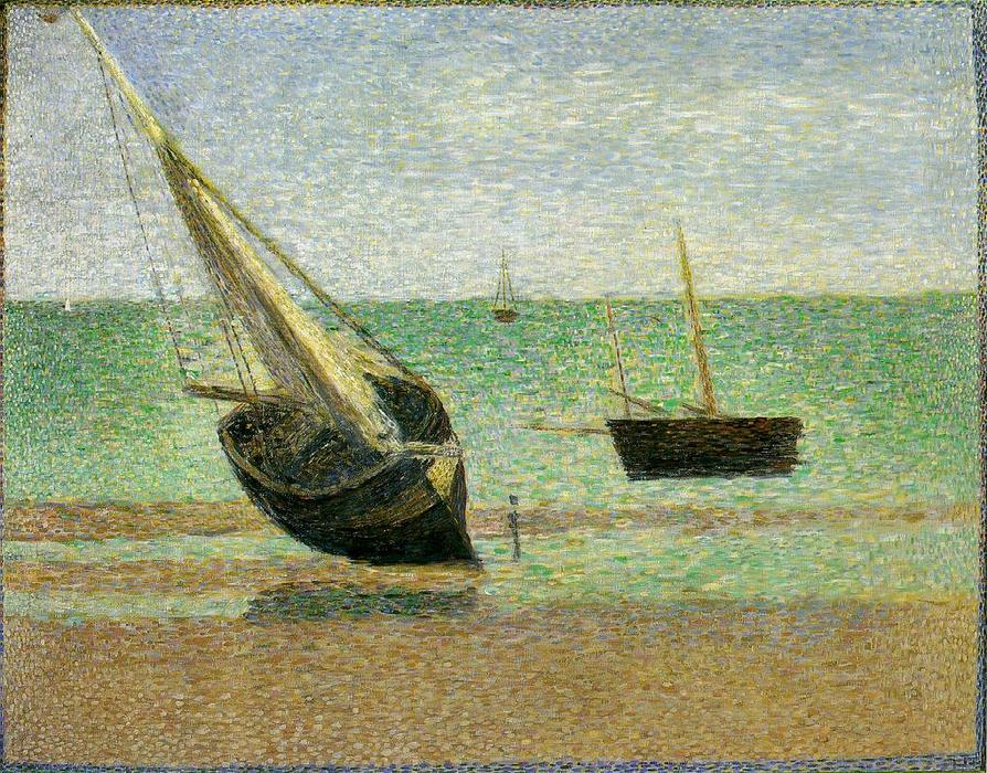 Low Tide at Grand, öl auf leinwand von Georges Pierre Seurat (1859-1891, France)