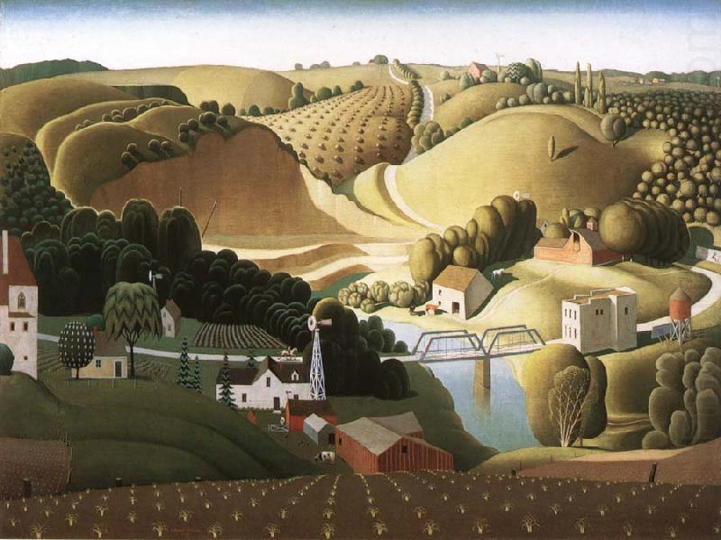Stone city , Iowa, öl von Grant Wood (1891-1942, United States)