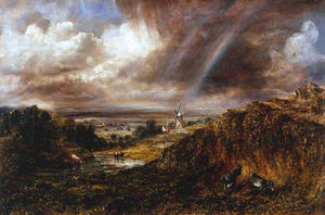John Constable - Hampstead Heath mit einem Regenbogen