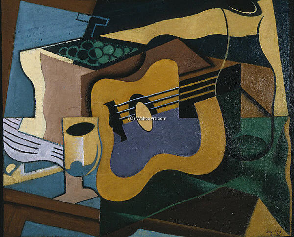 stillleben mit gitarre l an segeltuch von juan gris 1887 1927 spain. Black Bedroom Furniture Sets. Home Design Ideas