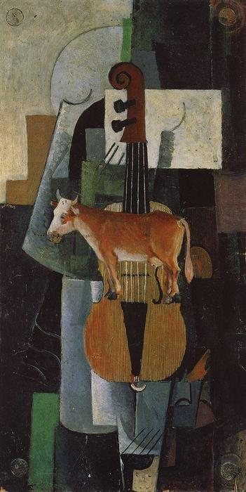 Cow and Fiddle, öl von Kazimir Severinovich Malevich (1878-1935, Ukraine)