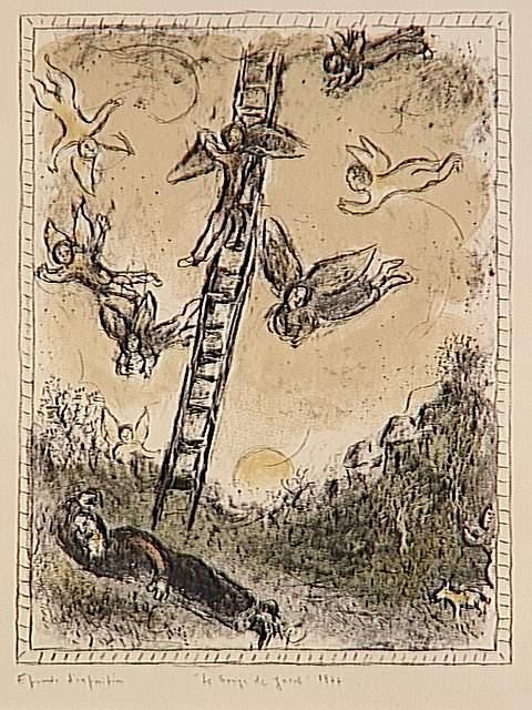die jakobs traum 10 lithografie von marc chagall 1887 1985 belarus. Black Bedroom Furniture Sets. Home Design Ideas
