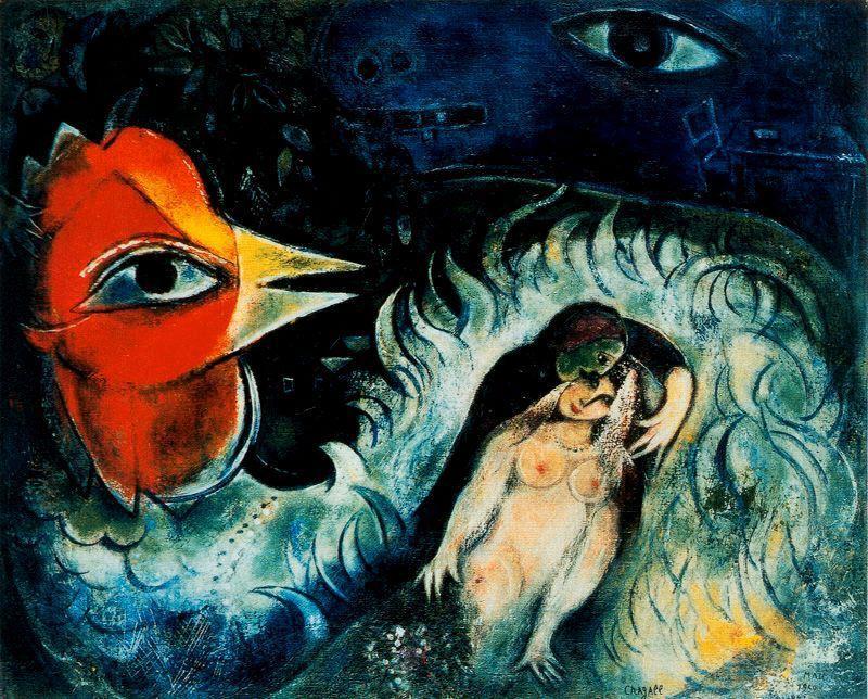 Der hahn in der liebe l auf leinwand von marc chagall for Chagall tableau