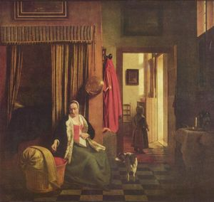 Pieter De Hooch - Mutter an der Wiege