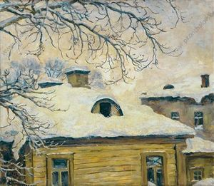 Pyotr Konchalovsky - Winter. Dächer.