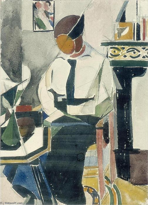 Lena in interieur, gouache von Theo Van Doesburg (1883-1931, Netherlands)