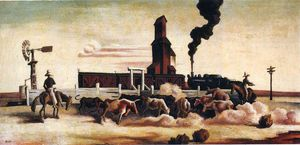 Thomas Hart Benton - Cattle Loading