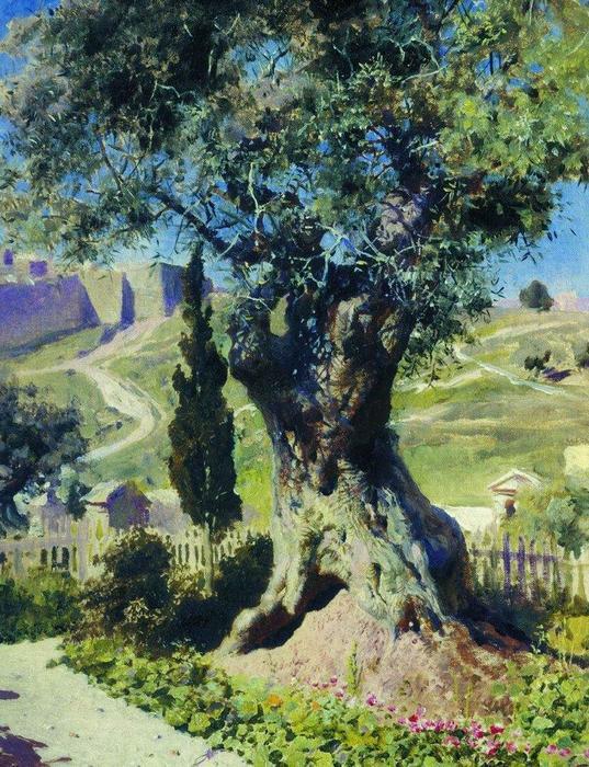 ein olivenbaum im garten gethsemane l auf leinwand von. Black Bedroom Furniture Sets. Home Design Ideas