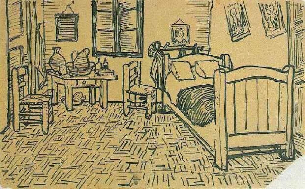 Vincents Schlafzimmer in Arles, tinte von Vincent Van Gogh ...