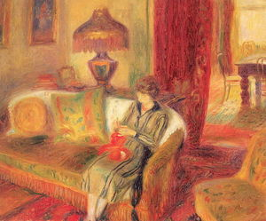 William James Glackens - Die Frau des Künstlers Knitting
