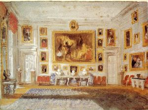 William Turner - Petworth, Salon, Occasion Aussenfarbe auf blauem Papier