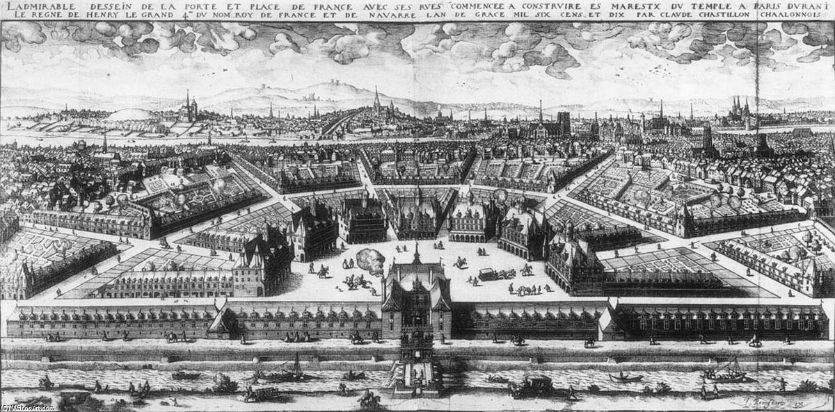 Projekt der Place de France in Paris, gravieren von Claude Chastillon (1559-1616, France)