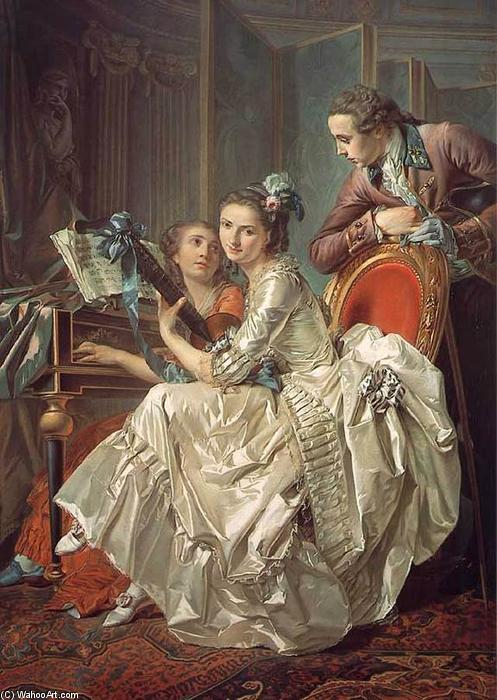 der musik party, öl an segeltuch von Louis Rolland Trinquesse (1746-1799, France)