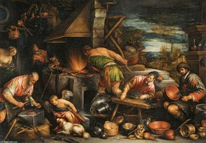 Francesco Bassano The Younger - Die Schmiede des Vulkan