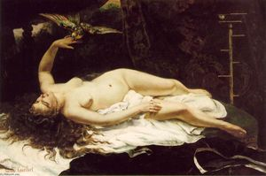 Gustave Courbet - frau mit a papagei