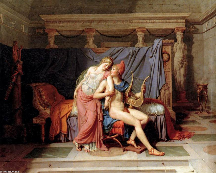 Die Loves of Paris und Helena, öl auf leinwand von Jacques Louis David (1748-1800, France)