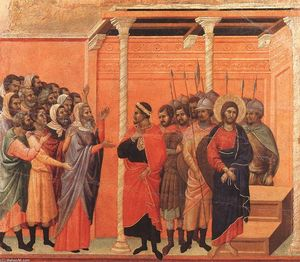 Duccio Di Buoninsegna - Christus von den Pharisäern Accused