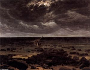 Caspar David Friedrich - Seashore mit Shipwreck by Moonlight