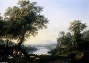 Jacob Philippe Hackert - landschaft mit fluss
