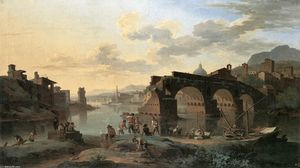 Jacob De Heusch - River View mit dem Ponte Rotto