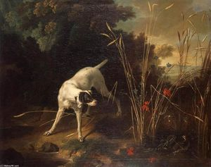 Jean-Baptiste Oudry - Dog Pointing ein Rebhuhn