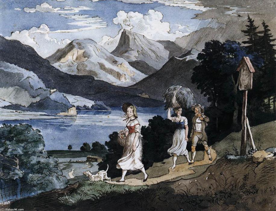 Der Fuschlsee mit dem Schafberg im Salzkammergut (2), wasserfarbe von Adrian Ludwig Richter (1803-1884, Germany)