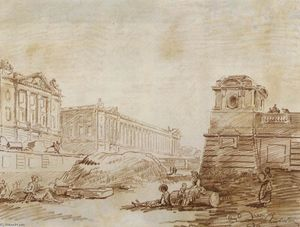 Hubert Robert - Ditch am Place de la Concorde