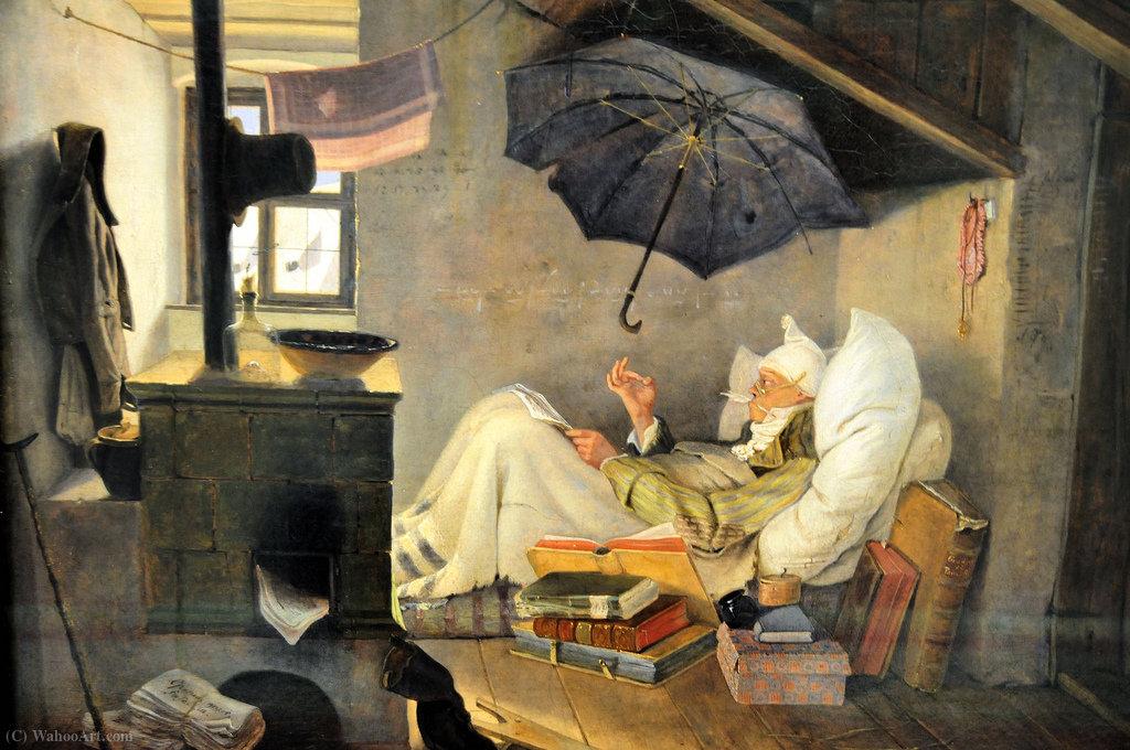 der arme poet l auf leinwand von carl spitzweg 1808. Black Bedroom Furniture Sets. Home Design Ideas