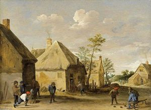 David The Younger Teniers - Bauern Bowling in ein dorf Street