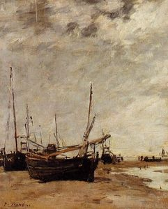 Eugène Louis Boudin - Ebbe, Grounded Segel