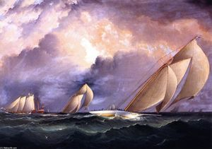 James Edward Buttersworth - Madcap in New York Yacht Club Race