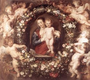 Peter Paul Rubens - Madonna in Blumenkranz