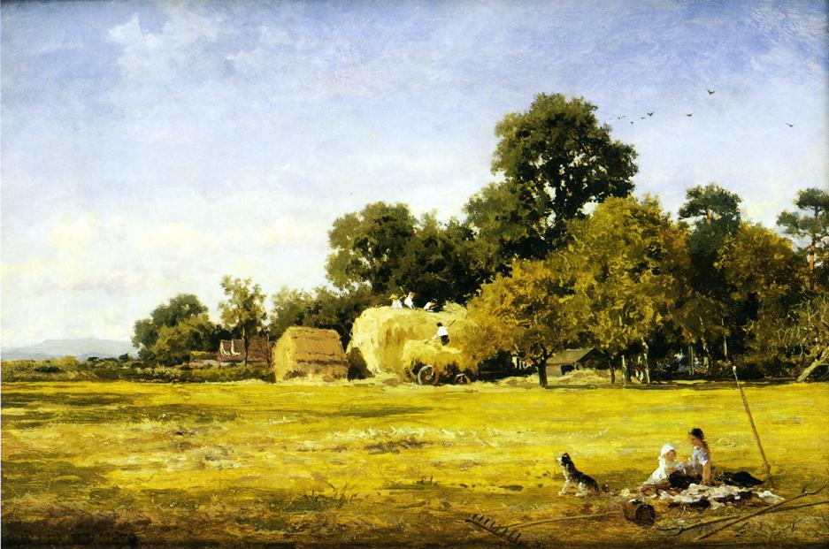 Einen Hay Rick, Whittington, 1879 von Benjamin Williams Leader (1831-1923, United Kingdom) | Malerei Kopie | WahooArt.com