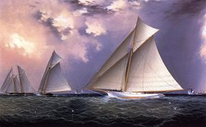 James Edward Buttersworth - 'Unfug' und 'Gracie' America s Cup Testrennen 1881