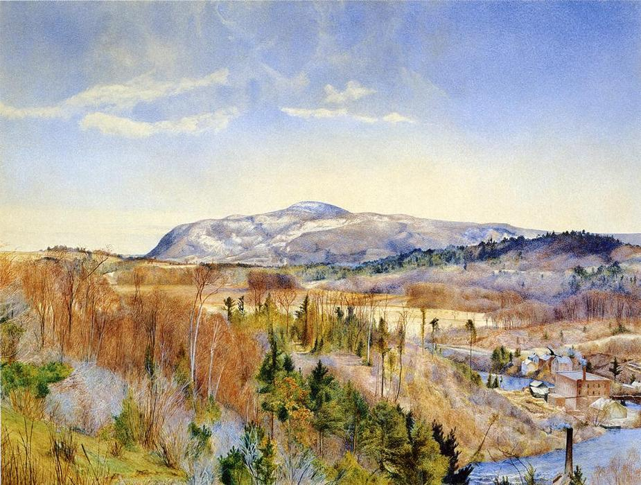 Mt. Everett von Monument Mountain im April, wasserfarbe von Henry Roderick Newman (1833-1918, United States)