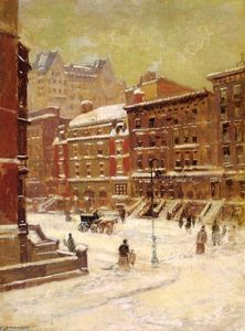Paul Cornoyer - new york stadt ansicht  an  im Winter