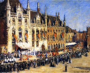 Colin Campbell Cooper - The Pageant in Brügge