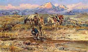 Charles Marion Russell - Pay Dirt (auch bekannt als The Discovery of Last Chance Gulch bekannt)