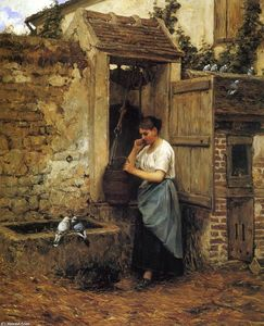 Henry Mosler - Peasant Girl and Doves
