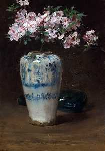 William Merritt Chase - Rosa Azalee in ein Chinesisch Vase