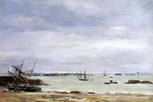 Eugène Louis Boudin - Pontreiux , the Port at Low Flut