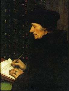 Hans Holbein The Younger - Porträt von Erasmus von Rotterdam Writing