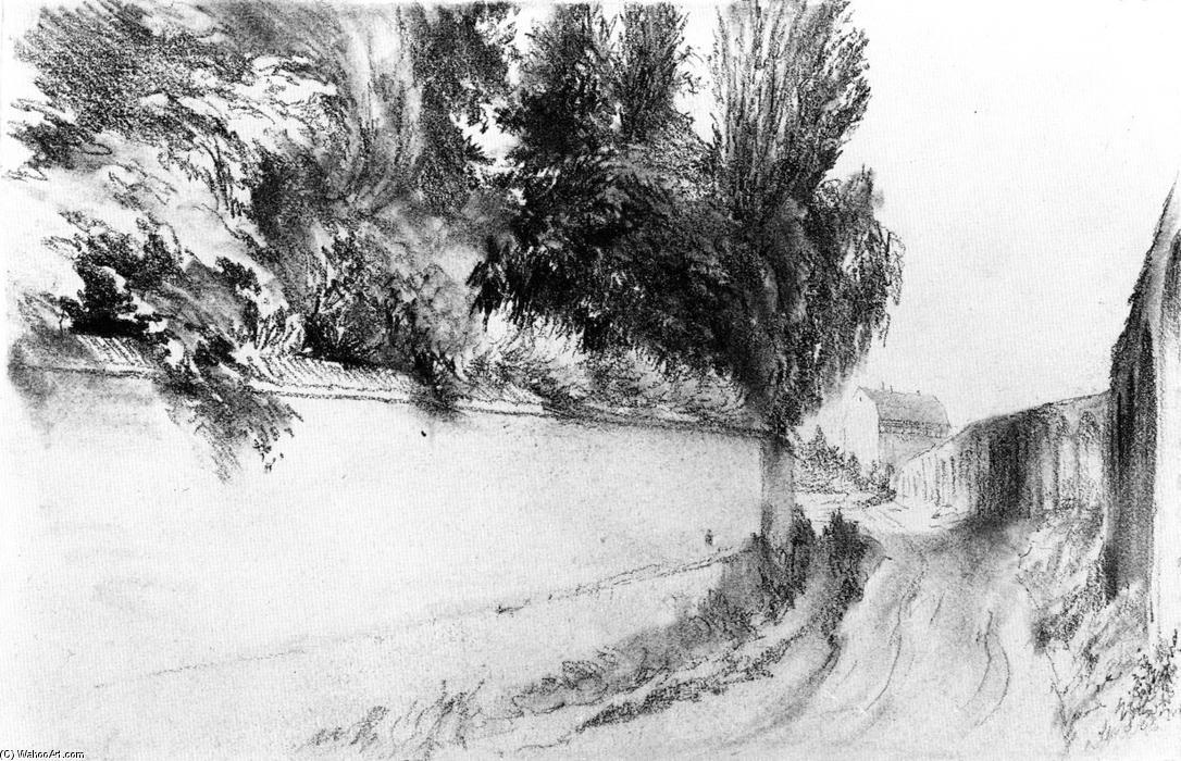 stra e entlang ein park entfernt wand bleistift von adolph menzel 1815 1905 poland. Black Bedroom Furniture Sets. Home Design Ideas
