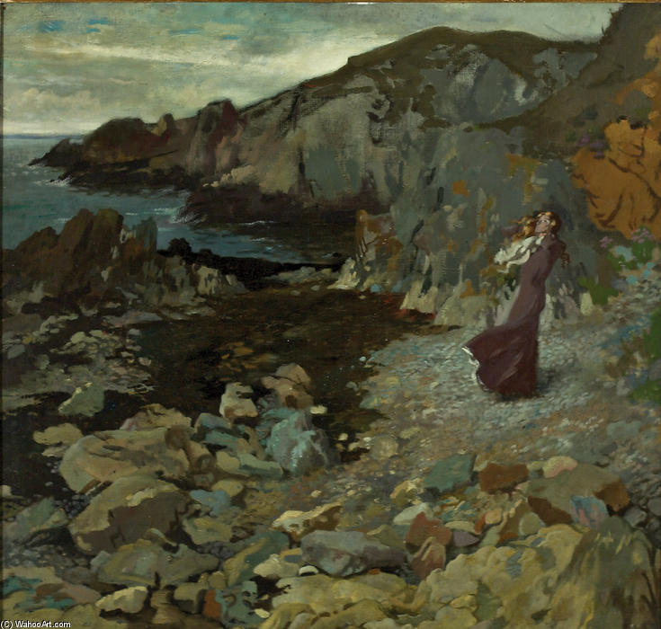 steinig küste szene bei howth, 1909 von William Newenham Montague Orpen (1878-1931, Ireland) | Malerei Kopie | WahooArt.com