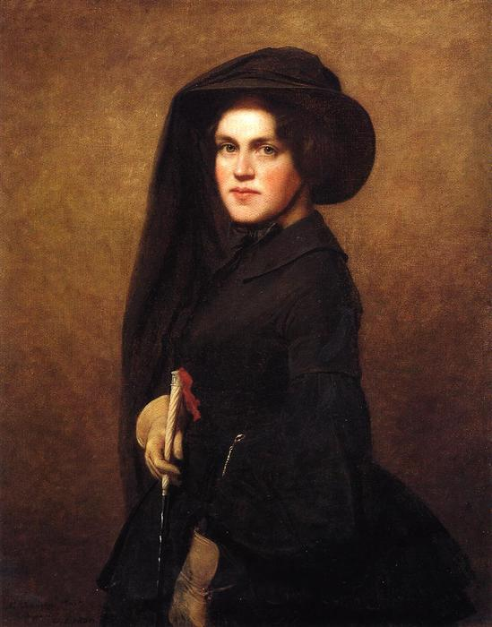 Sarah Osgood Johnson Newton, 1856 von Jonathan Eastman Johnson (1824-1906, United Kingdom) | Kunstreproduktionen Jonathan Eastman Johnson | WahooArt.com