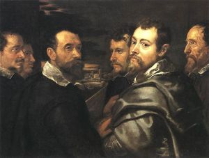 Peter Paul Rubens - Self-Portrait in ein Circle of Freunde von Mantua