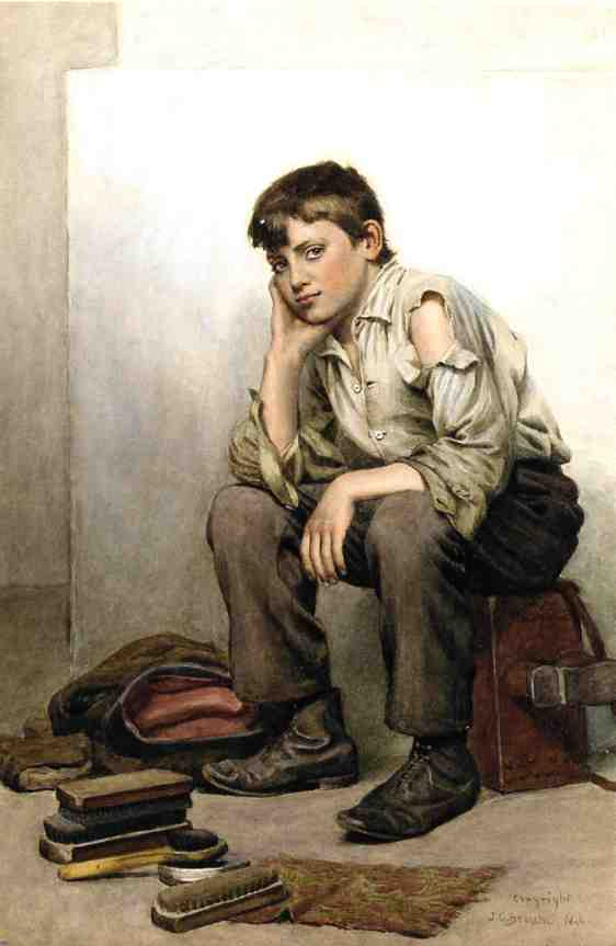 Schuhputzmaschine Boy, wasserfarbe von John George Brown (1831-1913, United Kingdom)